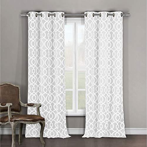 NIL 2pc Girls Winter White Moroccan Window Curtain 84 Pair Panel Set, Pearl White Color Geometric Trellis Pattern Lattice Design Bohemian Window Treatment, Luxury Stunning, Polyester Grommet Top