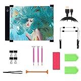 Perzodo 24 Pieces Diamond Painting Tool Including A4 LED Light Pad, Diamond Stitch Pen, Plastic Tray, Stand Holder for Diamond Painting