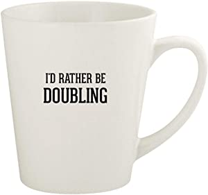 I'd Rather Be DOUBLING - 12oz Ceramic Latte Coffee Mug Cup, White