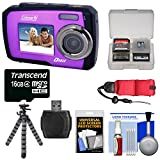 Coleman Duo 2V7WP Dual Screen Shock & Waterproof Digital Camera (Purple) with 16GB Card & Reader + Float Strap + Flex Tripod + Kit