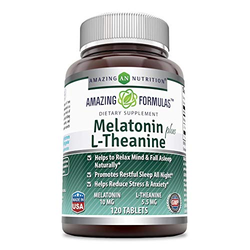 Amazing Nutrition Amazing Formulas Melatonin Plus L-Theanine Dietary Supplement - 10 mg - 120 Tablets - Promotes Restful, All-Night Sleep - Helps Reduce Anxiety and Stress