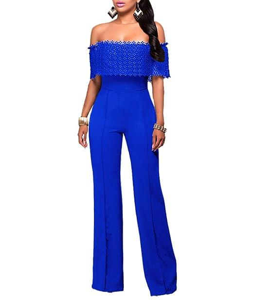 4d10f823ea YOUJIA Mujer Mono Jumpsuits Elegante Fuera del hombro Bodysuit Verano  Pantalones Largos para Fiesta Playa (