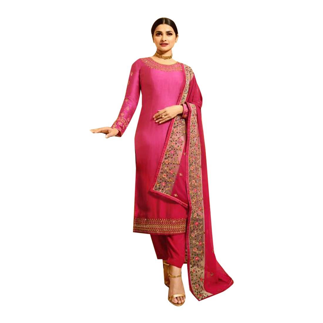 Amazon.com: Rosa india Bollywood Designer Satin Georgette ...