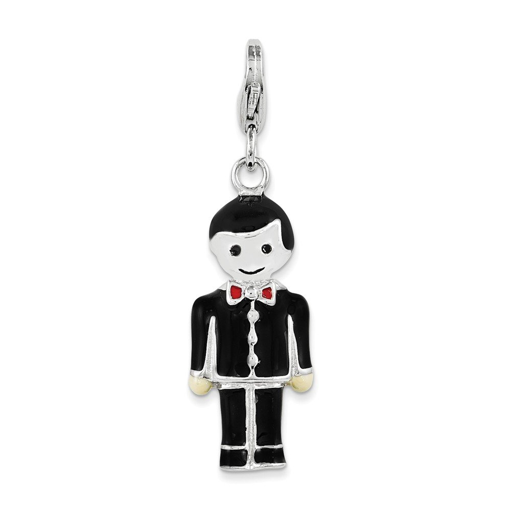 10mm x 28mm Solid 925 Sterling Silver and Black Enamel Groom with Lobster Clasp Pendant Charm