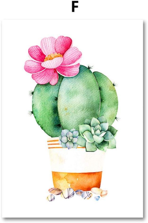 LiMengQi Cactus suculentas Plantas Lienzo Pintura Cartel nórdico ...