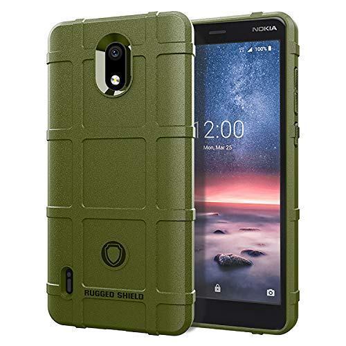 Case for Nokia 3.1A/Nokia 3.1C Rugged Shield Series Soft TPU Bumper Thick Solid Armor Tactical Best Protective Cover (Green)