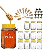 """[NEW UPGRADE] Syntic Heavy Duty 12 oz Honey Jars with Dipper, Glass Honey Pot with 4.2"""" Wooden Honey Dipper (Individually Wrapped Dipper), Honey Containers with Airtight Plastic Lids Great for Wedding, Party Favors, 20 Pack"""