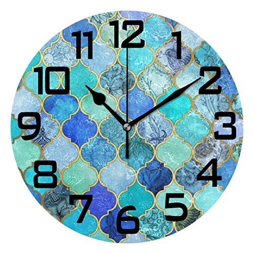 Cobalt Blue Moroccan Tile Pattern Round Acrylic Wall Clock, Silent Non Ticking Battery Decorative Home Kitchen Classroom Office School ()