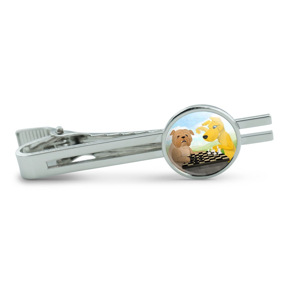 Made On Terra Dogs Playing Chess Mens Tie Clip Tack Bar