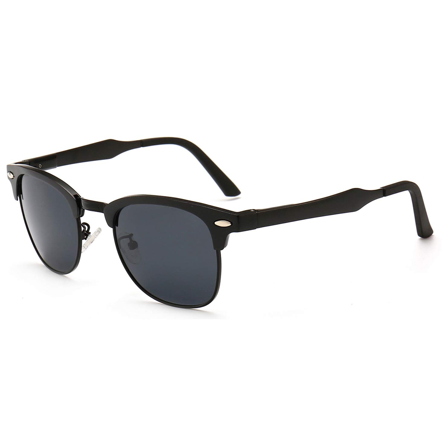 SUNGAIT Classic Half Frame Retro Sunglasses with Polarized Lens (Black Frame Gray Lens) by SUNGAIT