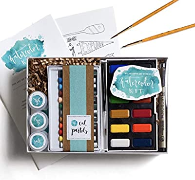 "DIY Watercolor Kit for Beginners - Includes Project Guides & Detailed Instructions - Wildflower Art Studio's Signature ""Watercolor Class in a Box"""