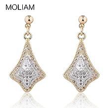 Dancing Zone Fashion Earrings Orecchini for Women 18K Gold Platinum Plated White Crystal Zirconia Drop Dangle Earing Jewelry E604