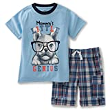 Kids Headquarters Baby Boys' 2 Pieces Shorts Set-Screen Print Jersey Tee, Blue, 12M