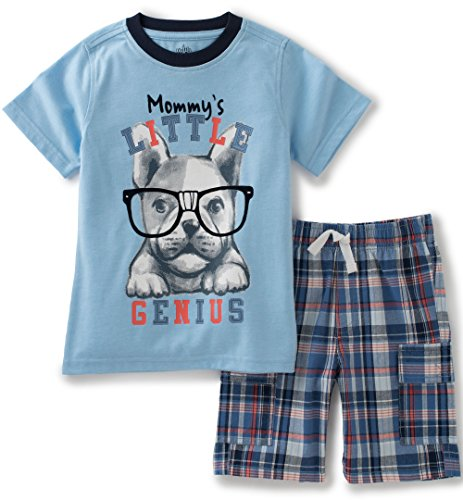Kids Headquarters Baby Boys 2 Pieces Shorts Set - Screen Print Jersey Tee, Blue, 12M - Jersey Screen Print Shorts