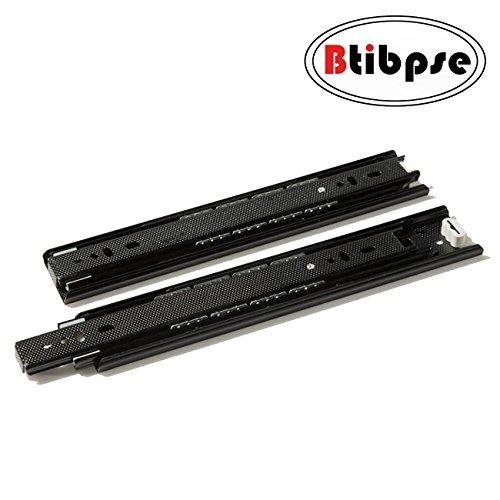 Btibpse Drawer Slide 10 Inch Ball Bearing Full Extension Slide Rail Black Pair by Btibpse