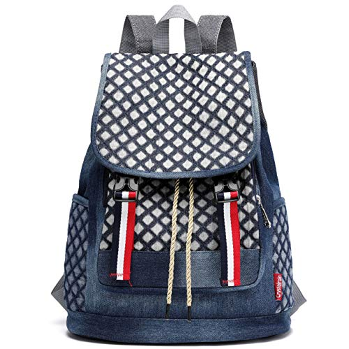 Denim School Backpack for Teen Girls Kids Xuanber Cute Bookbag Elementary  Middle Student Rucksack Slim Small aa93b0a8d9