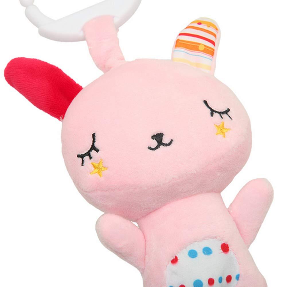 Thembelin 1PC beb/é musical colgante del recorrido de la felpa de dibujos animados Toy dise/ño animal ni/ños de juguete Actividad M/úsica colgante de juguete de felpa suave Con Mordedor oso