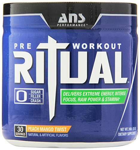 (ANS Performance Ritual Pre-Workout, Delivers Extreme Energy with Intense Focus and Raw Power, Sugar-Free Peach Mango Twist, 240 Gram)