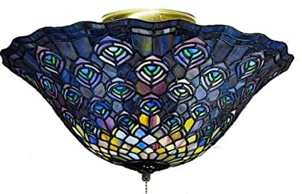 Peacock semi flush tiffany stained glass ceiling lighting fixture 16 peacock semi flush tiffany stained glass ceiling lighting fixture 16 inches w aloadofball Choice Image