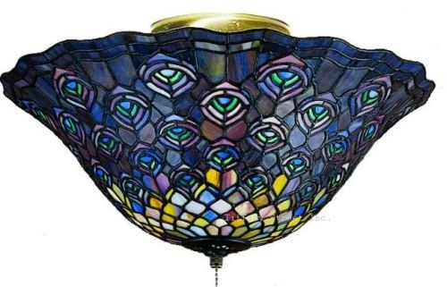 Stained Glass Ceiling Light Fixture: Peacock Semi Flush Tiffany Stained Glass Ceiling Lighting Fixture 16 Inches  W - Close To Ceiling Light Fixtures - Amazon.com,Lighting