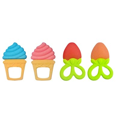 4Pcs Baby Teething Toys Safe BPA Free Food Grade Silicone Teethers Toy Ice Cream Strawberry Shape Baby Teether Massage (Random Color) : Baby