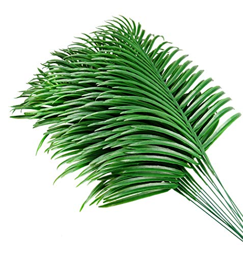 Palm Leaves,Artificial Plants Greenery Fake Palm Tree Leaves Garland Faux Tropical Palm Leaves Imitation Flowers Greening Kitchen Home Birthday Party Festival Flowers Arrange Wedding Decor - 12pcs