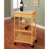 Elegant Design Wine Rack Kitchen Cart with Sturdy Metal Wire Basket