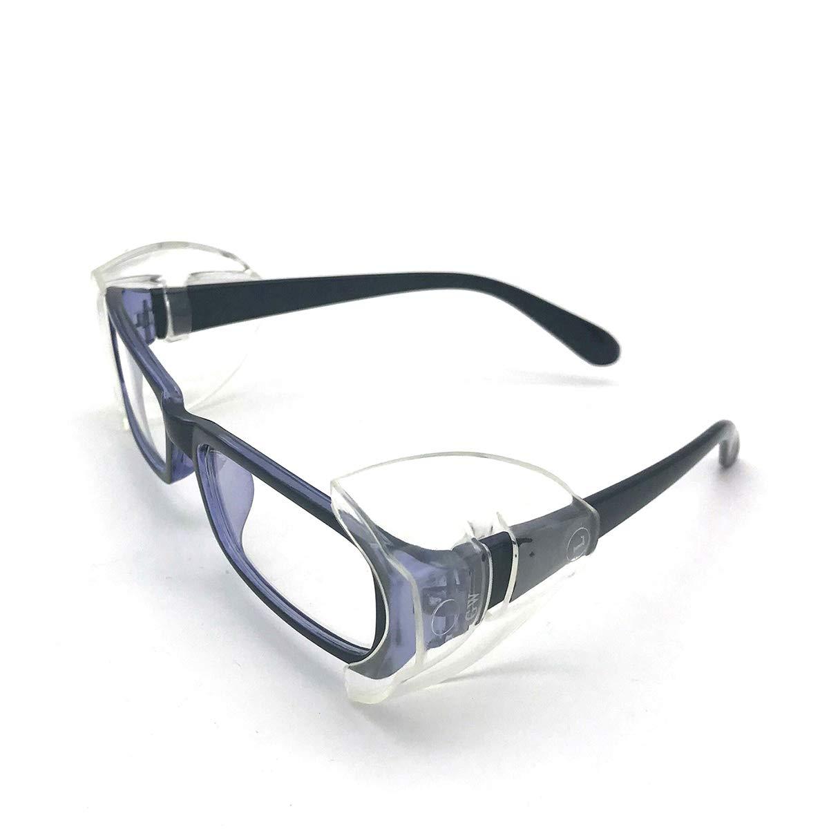 CAREOR Brillenflü gel, Anti-Rutsch auf klare Seitenschilder fü r Schutzbrille, Schutzbrille Flexible Seitenschilde- passend fü r kleine / mittlere / groß e Brillen (EINZEL HOLE-10 PC-L) CAREOR EU