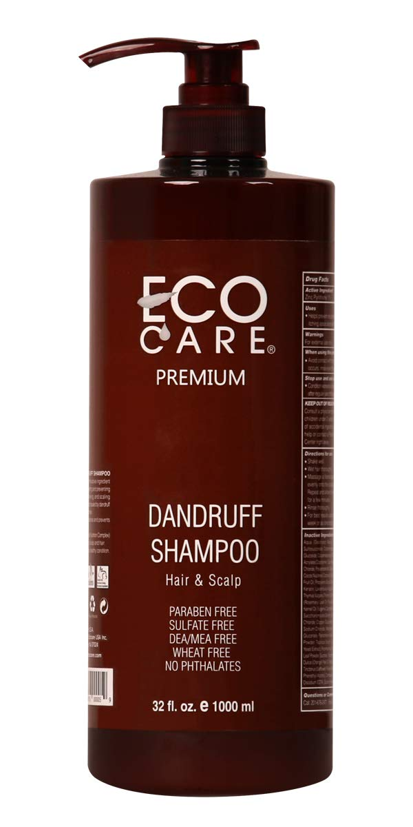 ECOCARE Dandruff Shampoo, 32 fl. oz. - For Dry and Itchy Scalp - Remove Dandruff - Prevent Thinning Hair - Anti Hair Loss - No Sulfate and No Paraben - Made in USA by ECOCARE