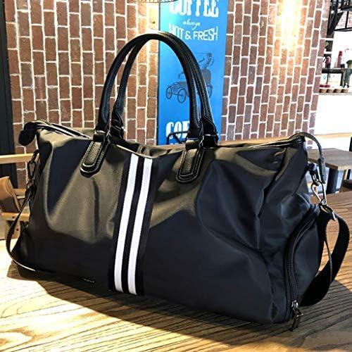 軽量大容量スポーツバッグポータブルメンズ近距離旅行荷物バッグ耐摩耗性アンチリンクルブラック HMMSP (Color : A, Size : 51×23×30cm)