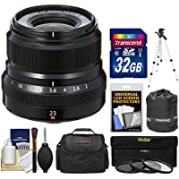 Fujifilm 23mm f/2.0 XF R WR Lens (Black) with 32GB Card + 3 UV/CPL/ND8 Filters + Case + Tripod + Pouch + Kit