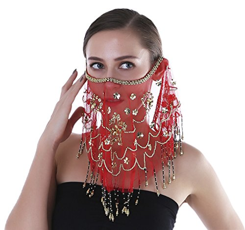 Red Belly Dancer Costumes (Seawhisper Adult Belly Dance Sequins Tribal Face Veil With Beads Halloween Costume Accessory Red)