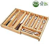 Bamboo Expandable Drawer Organizer, Kitchen Drawer Organizer, Silverware Drawer Organizer, Toolbox Drawer Organizer, Adjustable Drawer Storage Organizer By Deik. Large Size.