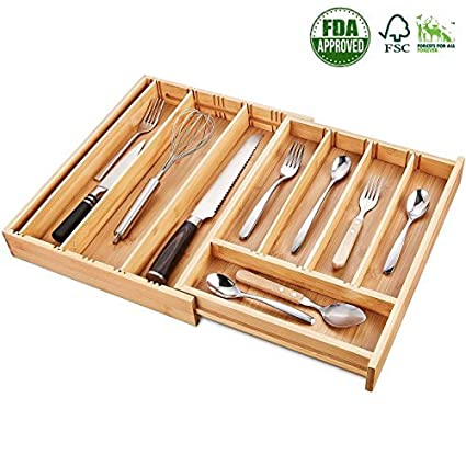 94fc6e40161 Amazon.com  Bamboo Expandable Drawer Organizer