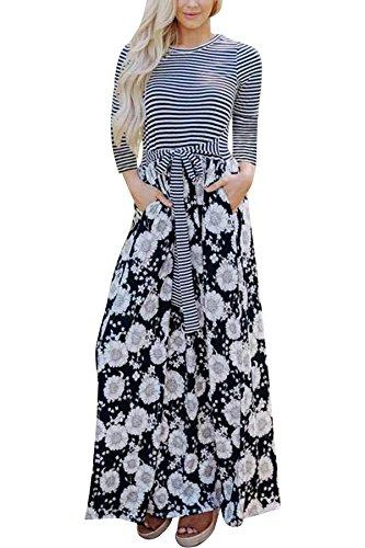 JYUAN Women's Casual Striped Floral Print Maxi Dress 3/4 Sleeve Tie Waist Long Maxi Dress with ()