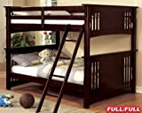 New Mission Dark Walnut Finish Wood Full Over Full Bunk Bed For Sale