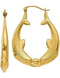Kissing Dolphins Hoop Earrings, 14K Gold