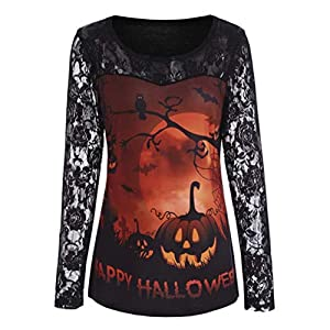Halloween Women's Vintage Ruffles Floral Lace Blouse Pumpkin Print Long Sleeve Shirt