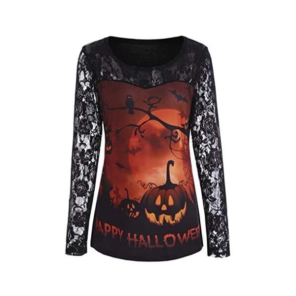 Halloween Women's Vintage Ruffles Floral Lace Blouse Pumpkin Print Long Sleeve Shirt