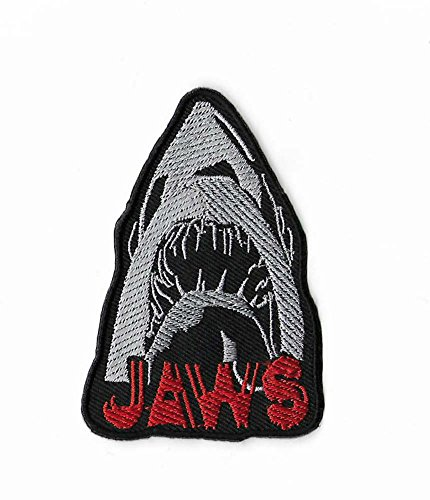 Jaws Patch (3.5 Inch) DIY Embroidered Iron or Sew on Badge Applique Horror...
