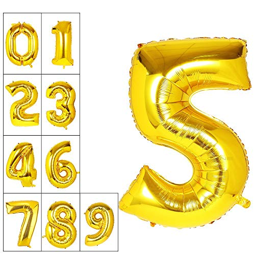 Lovne 40 Inch Jumbo Gold Number 5 Balloon Giant Prom Balloons Helium Foil Mylar Huge Number Balloons 0 to 9 for Birthday Party Decorations Wedding Anniversary]()