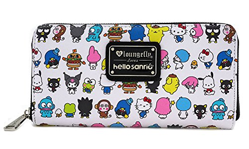 Loungefly x Hello Kitty Sanrio Character AOP Zip-Around Wallet (One Size, White Multi) from Loungefly