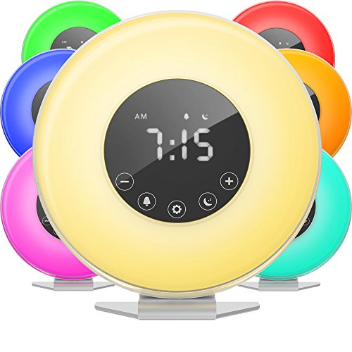hOmeLabs Sunrise Alarm Clock - Digital LED Clock 6 Color Switch FM Radio Bedrooms - Multiple Nature Sounds Sunset Simulation & Touch Control Snooze Function Heavy Sleepers