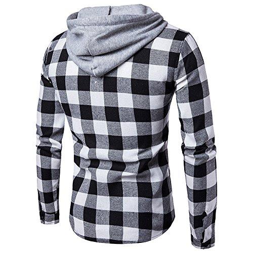 Maschile A Nera Con Cappuccio Maniche Inverno Superiore Dayseventh Pullover Camicia Autunno Lungo Plaid Camicetta wYfaYnrOg