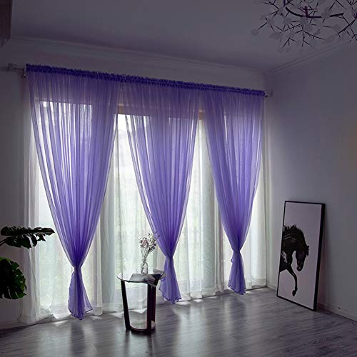(TRIEtree Sheer Voile Curtains, 3 Pieces Solid Color Window Curtains Semi-Sheer Curtain Panels for Home Living Room Bedroom, 39