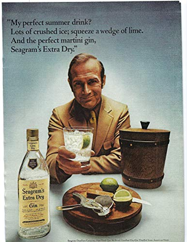 1971 Vintage Print Ad Seagram's Extra Dry Gin | Perfect Martini Gin Bar Décor