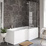 1700 mm Right Hand L-Shaped Straight Shower Bath with Glass Shower Screen + Panel BL117 by iBathUK