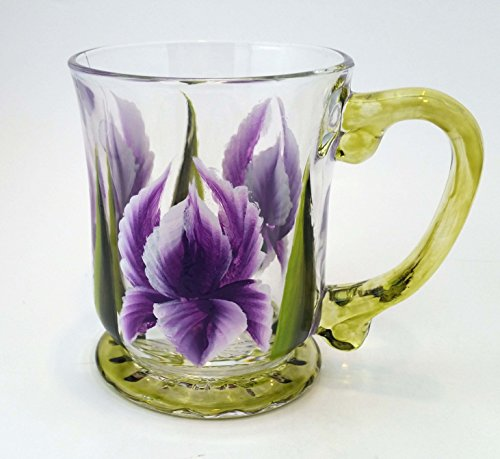 Hand Painted Iris Glass Coffee (Hand Painted Iris)