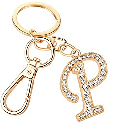 "Crystal Alphabet Initial Letter Pendant ""P"" with Key Ring"