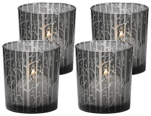 Biedermann & Sons Etched Glass Tree Scene Candle Holder, Box of 4